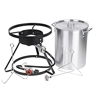 Backyard Pro Weekend Series 30 Qt. Turkey Fryer Kit with Aluminum Stock Pot and Accessories – 55,000 BTU All-in-One Thanksgiving Outdoor Cooking