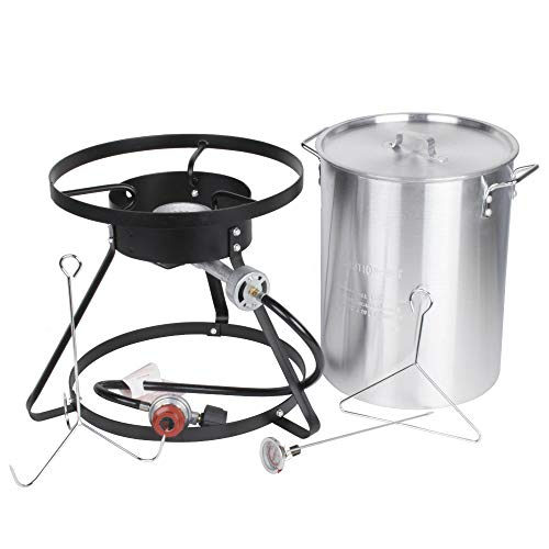 Backyard Pro Weekend Series 30 Qt. Turkey Fryer Kit with Aluminum Stock Pot and Accessories - 55,000 BTU All-in-One Thanksgiving Outdoor Cooking (Aluminum Stock Pot Kit)