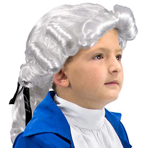Boo! Inc Colonial Powdered Wig | Children's | Halloween Costume Accessory -