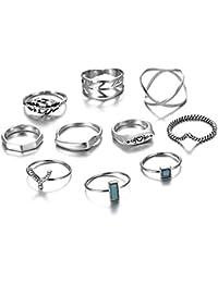 Bohemian Retro Finger Ring Set - Vintage Multilayers Crystal Joint Knuckle Ring Set For Women Girls (10PCS)