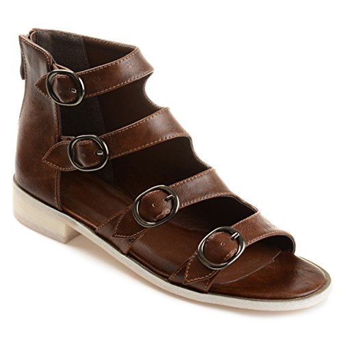 Journee Collection Womens Distressed Side Buckle High-Top Sandals Brown, 9 Regular US (Sandal Buckle Side)