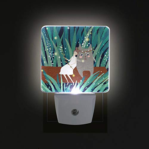 Mr.XZY Girl Sit Wood with Totoro LED Night Light Forest Firefly Light Shining Fairy Tale Fantasy 2 Pack 0.5W Plug in Lamp with Dusk to Dawn Sensor, for Kids Girls Boys Adults Room 2010109 -