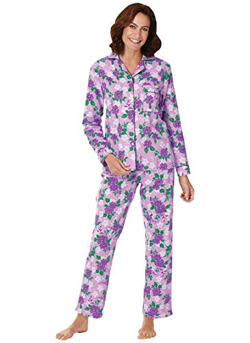 Floral Flannel PajamasSizes SP to 4X, Color Lilac, Size Extra Large (2X), Lilac, Size Extra Large (2X)