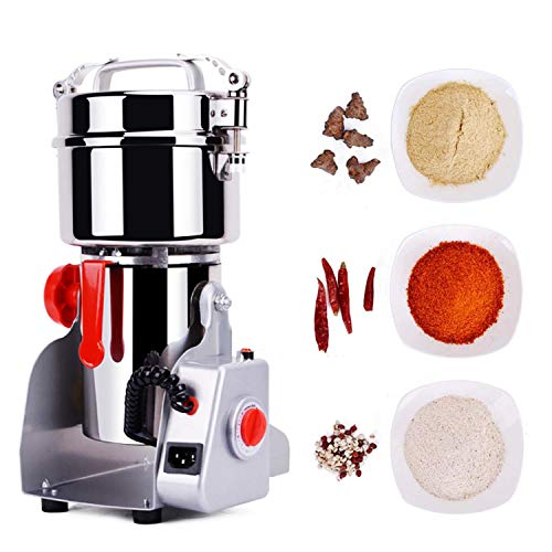 RESHY 300g Electric Grain Mill Spice Herb Grinder Pulverizer super fine powder machine For Spice herbs grains coffee rice corn sesame soybean fish feed pepper Food Grade Stainless Steel