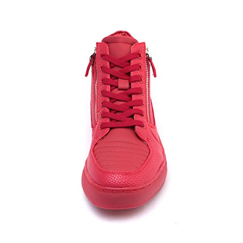 Rosso Stringata Ginnastica MForshop Uomo Pelle Sneakers Cerniera Eco y47 Fitness Scarpe Alta xUZwqgUHP