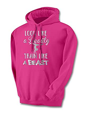Sports Katz Womens 'Beauty-Beast' GYMNASTICS Hoodie Heliconia Small