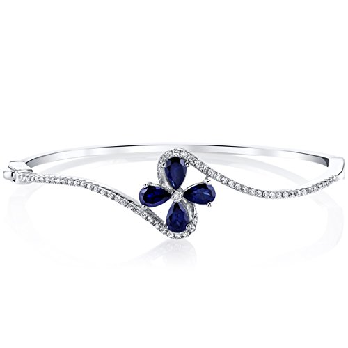 Created Blue Sapphire Petal Bangle Bracelet Sterling Silver Tear Drop 2 Carats