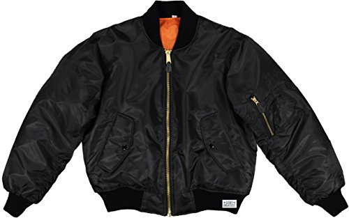 Army Universe MA-1 Air Force Military Bomber Flight Jacket with Pin (Black, Size Small - Chest 33