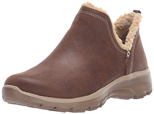 Skechers Women's Easy Going-Buried-Scooped Collar Bootie with Faux Fur Trim Ankle Boot, Chocolate, 7.5 M US
