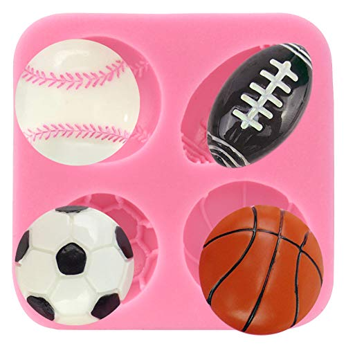 Funshowcase 4 Cavities Balls Cake Decorating Silicone Mold (Soap Football)