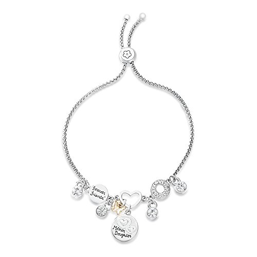 WILLOWBIRD Crystal Dangle Heart Butterfly Forever Friends Mother Daughter Disc Charm Slider Adjustable Bracelet for Women in Two-Tone Plated Brass