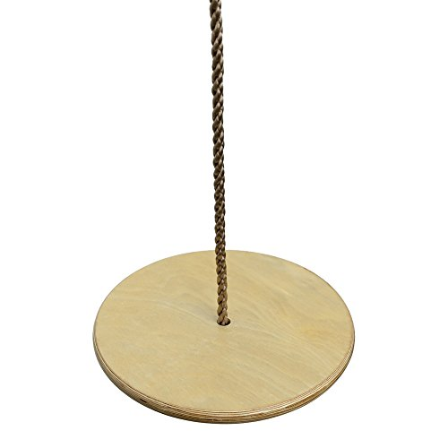 - Pellor Children Kids Wooden Round Disc Plate Swing Seat with Adjustable Rope
