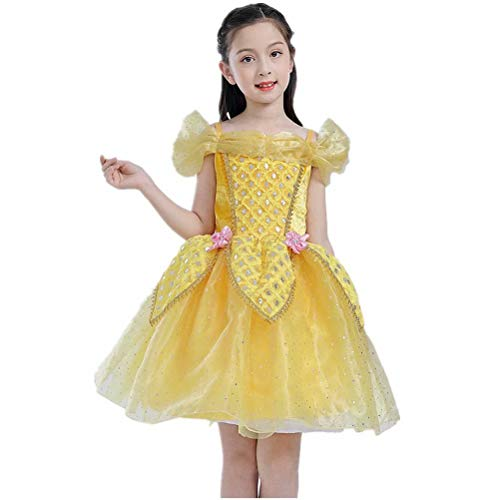 Tsyllyp Princess Belle Off Shoulder Layered Costume Dress for Girls Birthday -