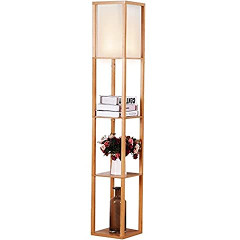 Brightech - Maxwell LED Shelf Floor Lamp – Modern Asian Style Standing Lamp with Soft Diffused Uplight White Shade- Wooden Frame with Convenient Open Box Display Shelves- Natural (Floor Lamps For The Office)