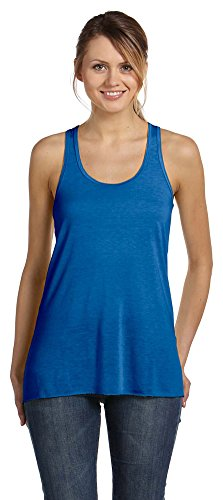 Bella + Canvas Ladies Flowy Racerback Tank, Medium, TRUE ROYAL MARB