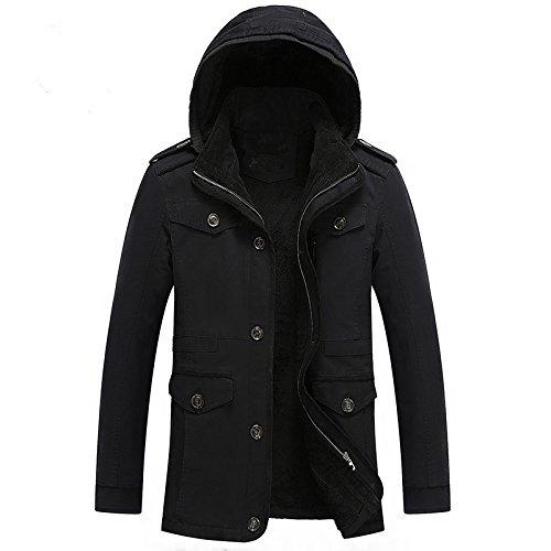 noir Medium Hommes's veste Veste Homme Décontracté Veste Manteau Manteau Long Manteau en Coton
