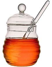 HYacinR 1/4 PCS Honey Jar with Dipper, Mini Honey Container, Honey Pot with Glass Honey Dipper - 11oz/14oz