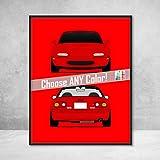 Mazda Miata NA MX-5 Roadster JDM Front and Rear View Poster Print Wall