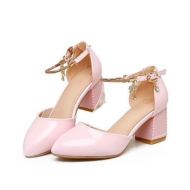 LvYuan Mujer-Tacón Robusto-Zapatos del club-Sandalias-Oficina y Trabajo Vestido Informal-Cuero Patentado PU-Rosa Blanco Pink