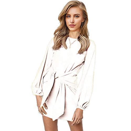 (Longwu Women's Loose Casual Front Tie Long Sleeve Bandage Party Dress White-L)