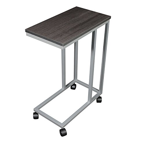 - The Austin C Table/End Table/Laptop Stand, Zebra Wood Finish Laminate Top/Silver Base with Casters