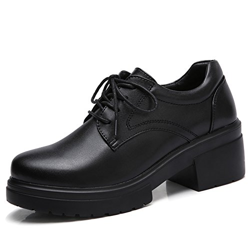 Womens Lace up Platform Mid Chunky Heel Oxfords Dress Shoes Black 6.5/7 US(CBY16heise37) by YKH