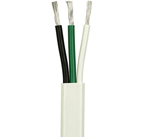 Amazon.com : 10/3 AWG Triplex Flat AC Marine Wire - Tinned Copper Boat Cable  - 10 Feet - White PVC Jacket, Black/White/Green Conductor - Made in The USA  : Sports & OutdoorsAmazon.com
