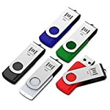 5 X MOSDART 8GB USB2.0 Flash Drive Swivel Bulk Thumb Drives Memory Sticks Jump Drive Zip Drive with Led Indicator,Black/Blue/Red/White/Green(8GB,5pack Mix Color)