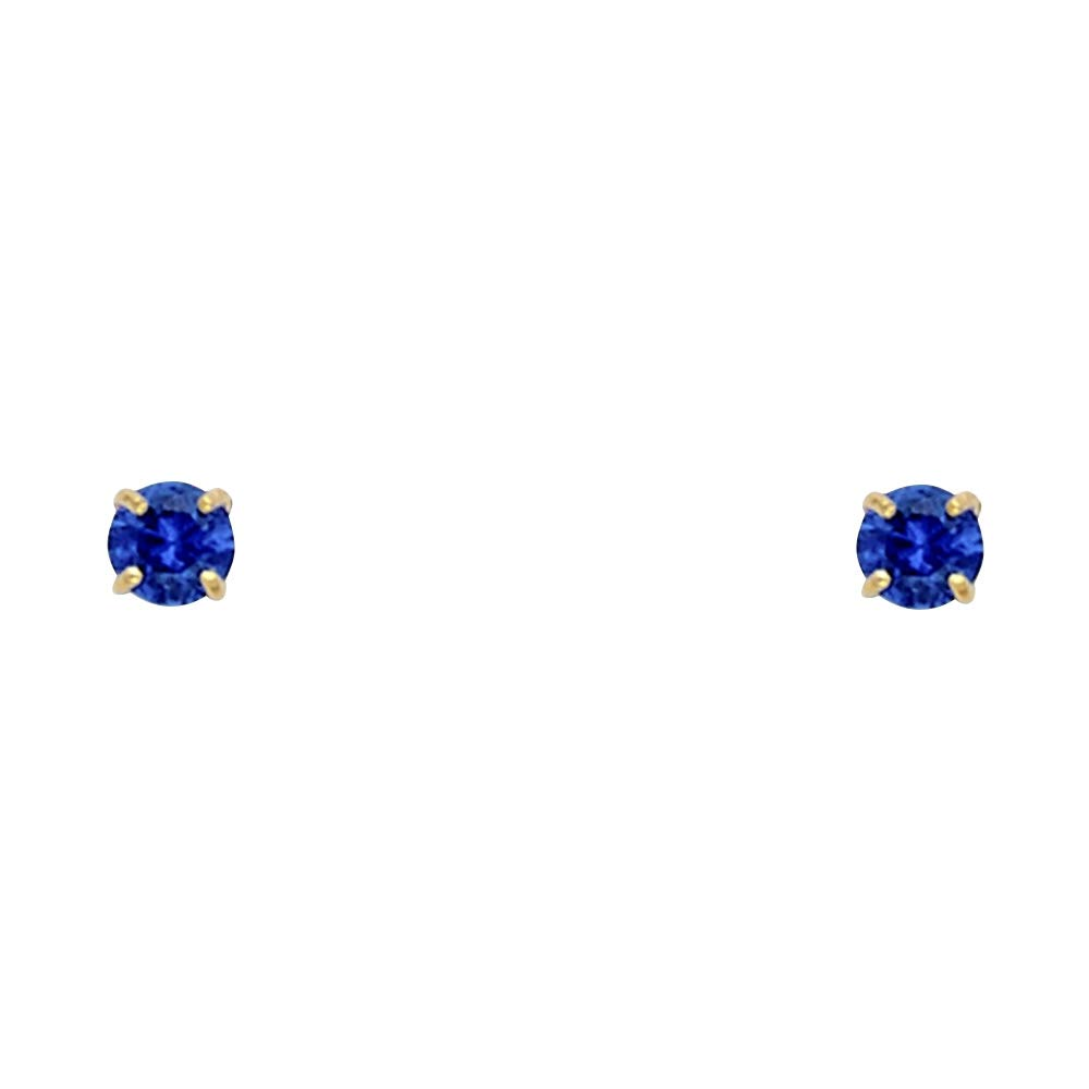 September Wellingsale 14K Yellow Gold Polished 3mm Round Birth CZ Cubic Zirconia Stone Solitaire Basket Style Prong Set Stud Earrings With Screw Back