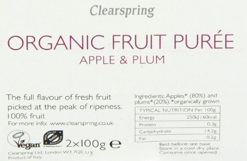 Clearspring Organic Apple and Plum Fruit Puree 2x100g (Pack of 12) by Clearspring (Image #1)'