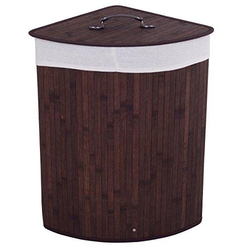 CASART Bamboo Hamper Laundry Basket Folding Double Rectangle Washing Cloth Storage Bag Lid (Brown, Triangle) (Corner Hamper)