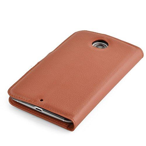 Cadorabo - Funda Motorola NEXUS 6 Book Style de Cuero Sintético en Diseño Libro - Etui Case Cover Carcasa Caja Protección (con función de suporte y tarjetero) en MARRÓN-CHOCOLATE