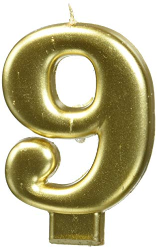 - amscan Birthday Celebration, Numeral #9 Metallic Candle, Party Supplies, Gold, 3 1/4