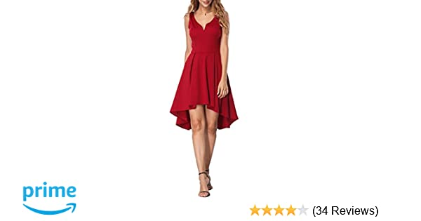 bd21edfb6d Amazon.com  YOUCOO Women Cocktail Skater Dress Sleeveless High Low Dress  Party Wedding Dress  Clothing
