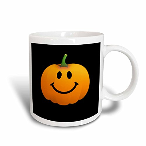 3dRose mug_123154_1 Orange Pumpkin Smiley Face on Black Cute Happy Halloween Jack O Lantern Cartoon Fun Smileys Ceramic Mug, 11 oz, -
