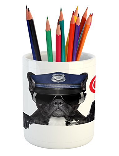 Animal House Siren - Ambesonne Police Pencil Pen Holder by, Animal Dog Pug Wears Glasses Thumbs up with Sirens Traffic Police Like Artwork, Printed Ceramic Pencil Pen Holder for Desk Office Accessory, Blue and Black