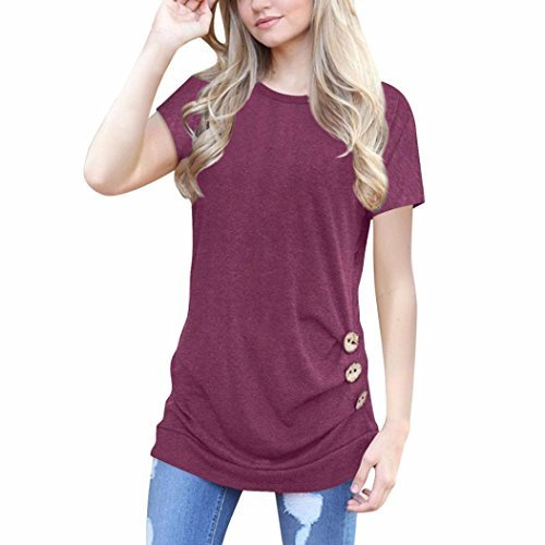 HIRIRI Women Short Sleeve Loose Button Trim Blouse Solid Color Round Neck Tunic T-Shirt Tops (XL, Wine Red)