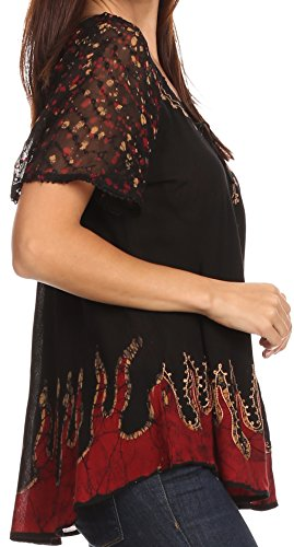 mancherons Sakkas motif haut batik relax chemisier coupe brode Noir Or Cora A8SwxUAP
