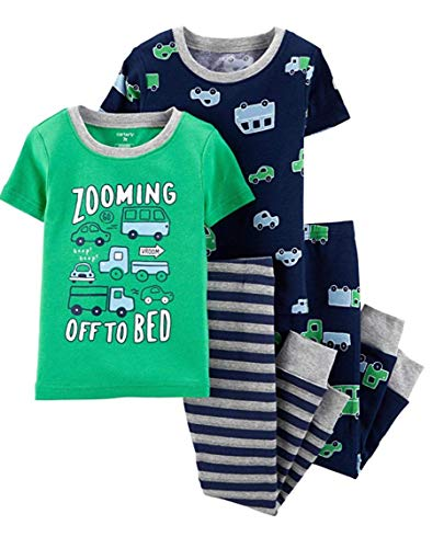 (Carters Boys 4-Piece Snug Fit Cotton PJ Set, Cars, 18 Months)