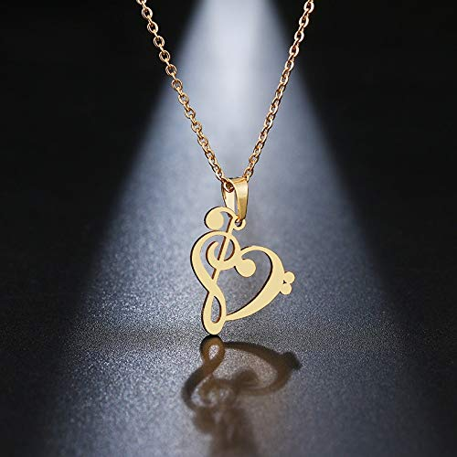 Stainless Steel Necklace Music Symbol Heart Of Treble And Bass Clefs Infinity Love Charm Pendant Necklaces Unisex Jewelry
