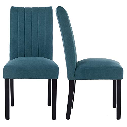 LSSBOUGHT Upholstered Fabric Parsons Dining Chair, Set of 2 (Blue)