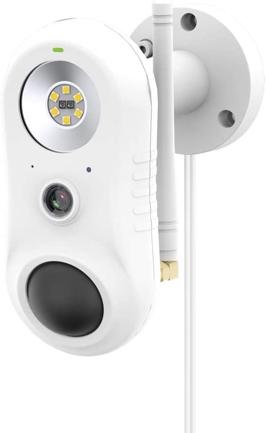 Outdoor Security Camera with Light, Spotlight Cam Wired, 1080P HD Plugged-in WiFi Home Surveillance Camera, Two-Way Talk and Siren Alarm, Waterproof, Night Vision, Compatible with Alexa