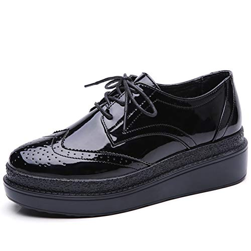 Wingtip Leather PU Women Patent Black Oxfords C12 Shoes Sneakers Wedge Up HKR Brogues Lace Platform fqtIpWp