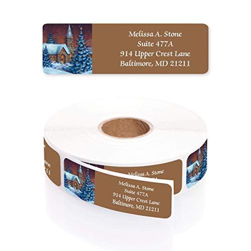 Evening Chapel Designer Rolled Address Labels with Elegant Plastic Dispenser