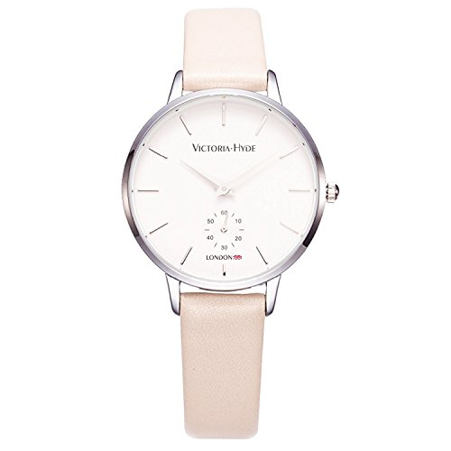 VICTORIA HYDE Women Dress Quartz Second Hand Watches With Leather Strap Beige Waterproof For (Beige Leather Strap Watch)