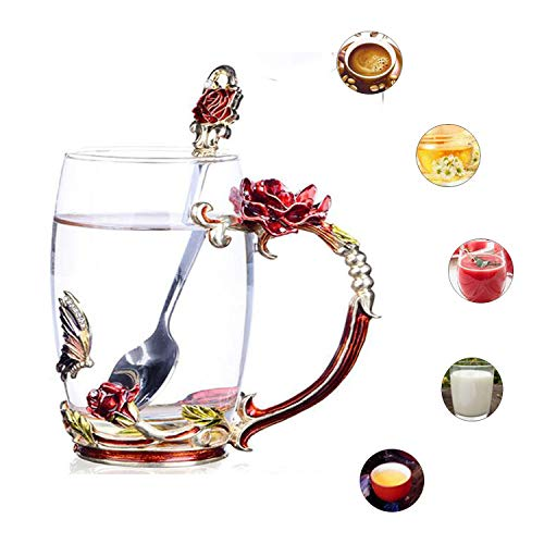 (Glass Tea Cups Coffee Mugs with Spoon Enamel Handmade Rose Flower Pattern Design Luxury Crystal Clear Glass Cup for Mother's Day Gifts (Red High))