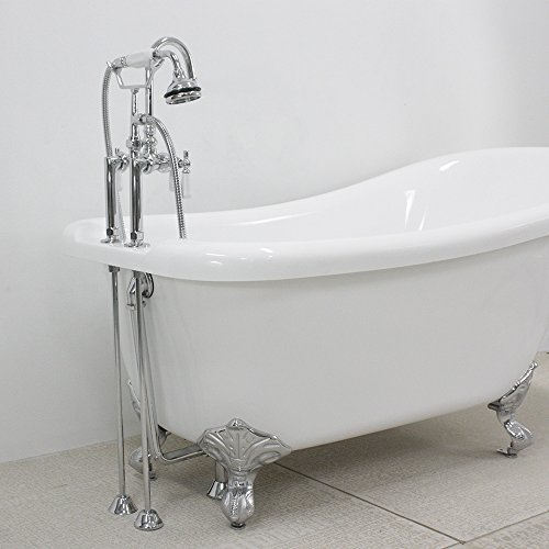 "Hotel Collection HLSL57FPK 57"" Heavy Duty CoreAcryl Double Walled Acrylic Single Slipper Clawfoot Bath Tub and Faucet Pack"