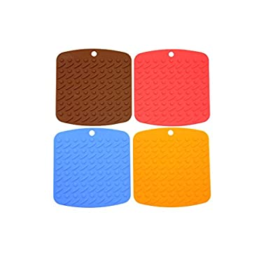 Gacube Silicone Pot Holder,trivet Mat,jar Opener,spoon Rest and Garlic Peeler (Set of 4) Non Slip,flexible,durable,dishwasher Safe,heat Resistant Hot Pads