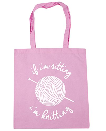 I'm I'm If Knitting HippoWarehouse Shopping Tote litres Classic Beach Sitting x38cm 10 Gym 42cm Pink Bag qaSww5xt