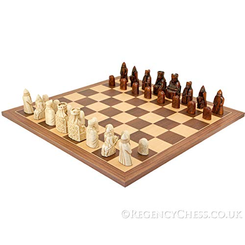 The Isle Of Lewis Walnut And Maple Chess Set by National Museum Scotland